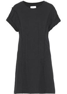 Current/elliott Woman Pintucked Distressed Cotton-jersey Mini Dress Black