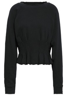 Current/elliott Woman Pintucked French Pima Cotton-terry Sweatshirt Black