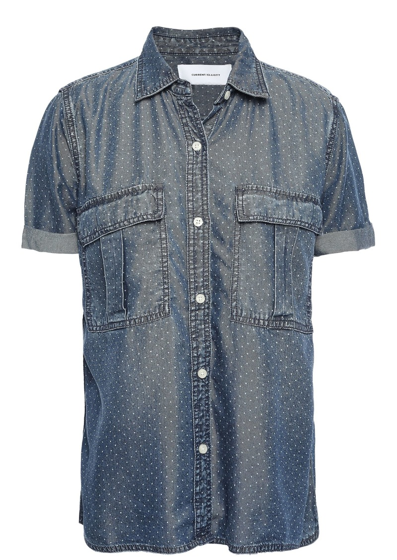 Current/elliott Woman Polka-dot Denim Shirt Mid Denim