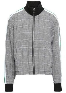 Current/elliott Woman Prince Of Wales Checked Linen Jacket Black