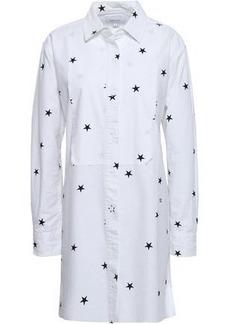 Current/elliott Woman Printed Cotton-blend Poplin Mini Shirt Dress White