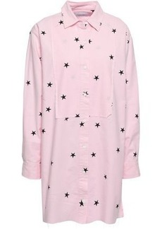 Current/elliott Woman Printed Cotton-blend Poplin Mini Shirt Dress Baby Pink