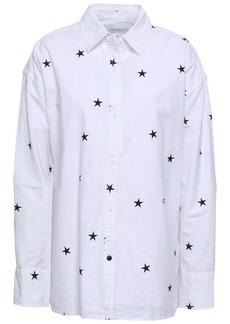 Current/elliott Woman Printed Stretch-cotton Poplin Shirt White
