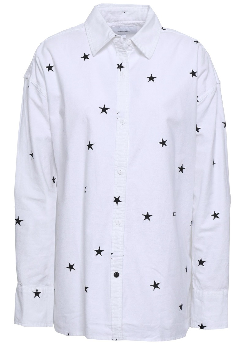 Current/elliott Woman Printed Stretch-cotton Poplin Shirt White