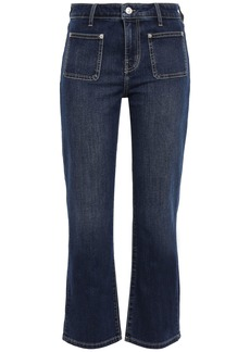 Current/elliott Woman Cropped High-rise Bootcut Jeans Dark Denim