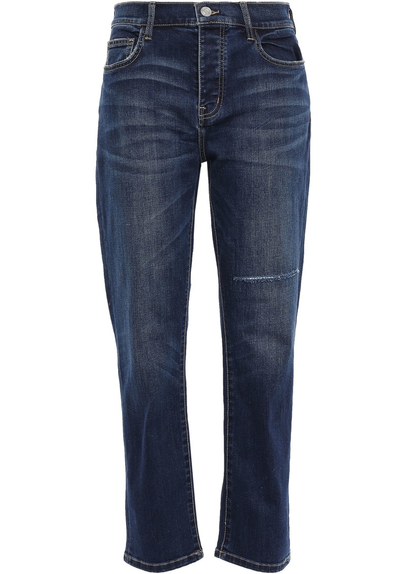 Current/elliott Woman Distressed High-rise Straight-leg Jeans Mid Denim