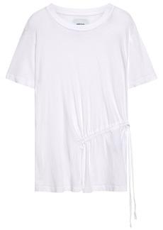 Current/elliott Woman Ruched Cotton-jersey T-shirt White