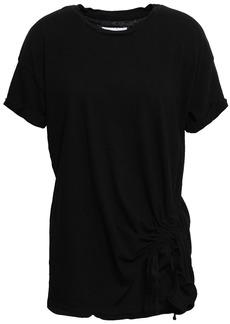 Current/elliott Woman Ruched Cotton-jersey T-shirt Black