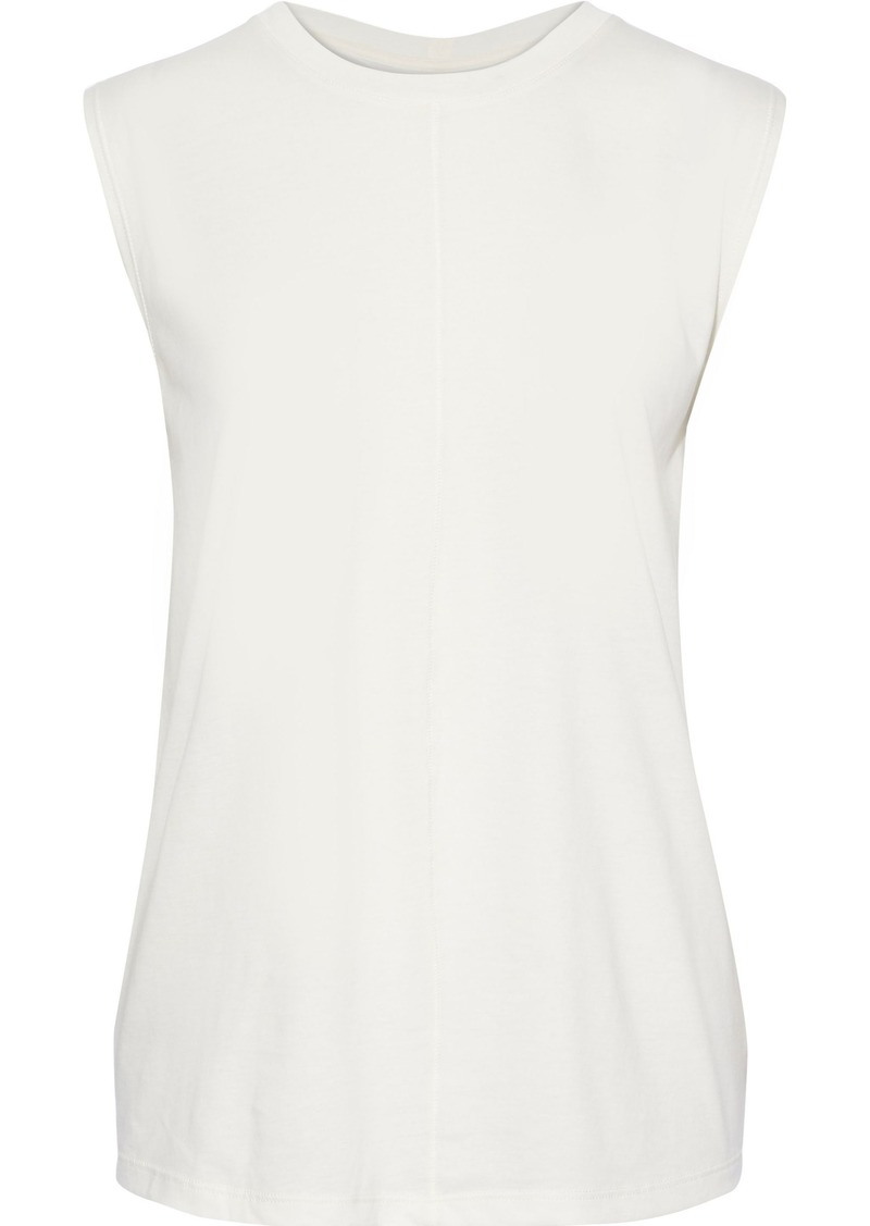 Current/elliott Woman Ruched Slub Pima Cotton-jersey Tank Off-white