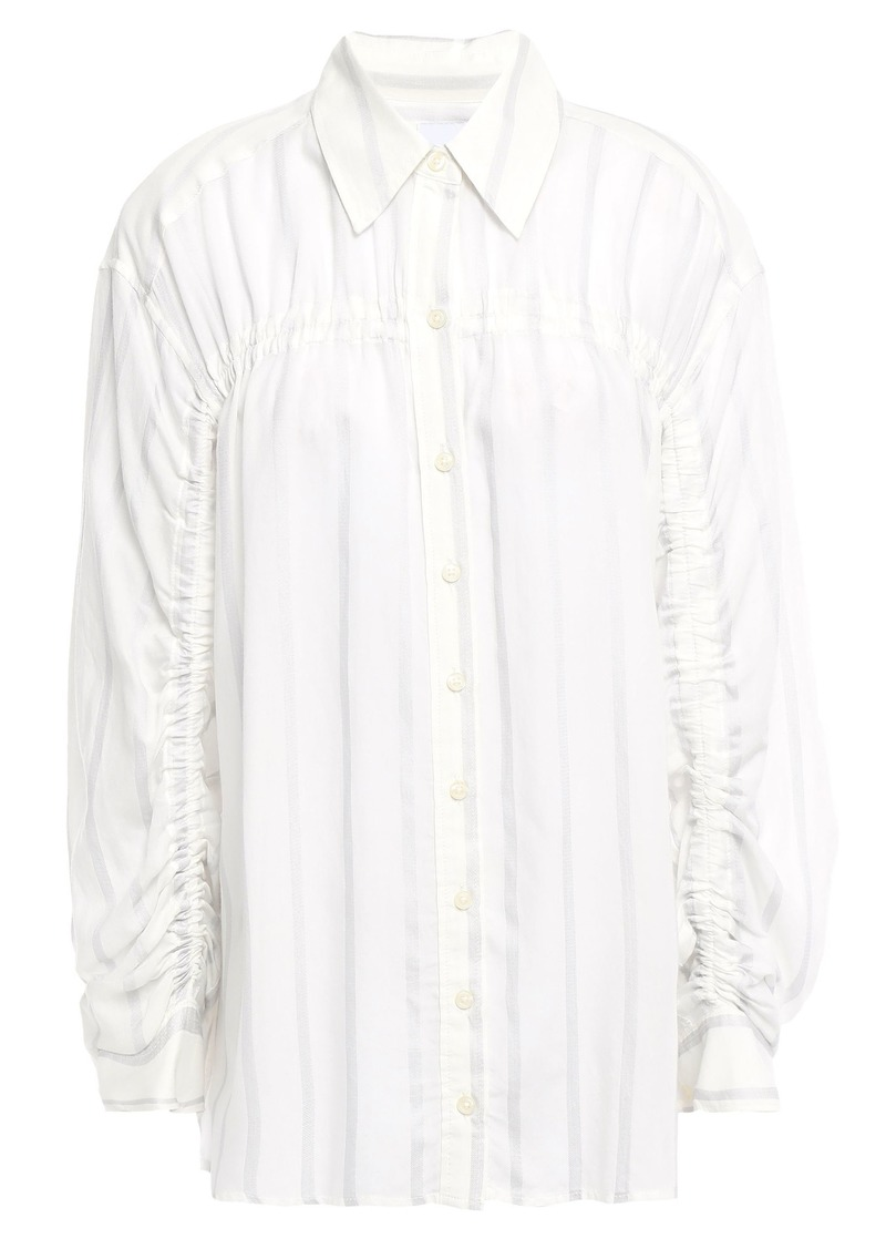 Current/elliott Woman Ruched Striped Voile Shirt Ivory