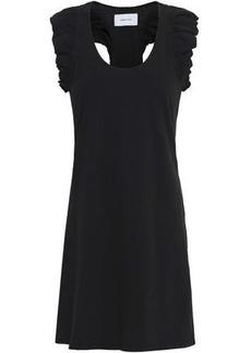 Current/elliott Woman Ruffle-trimmed Cotton-jersey Mini Dress Black