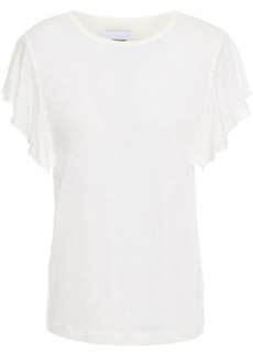 Current/elliott Woman Ruffled Slub Linen-jersey T-shirt White