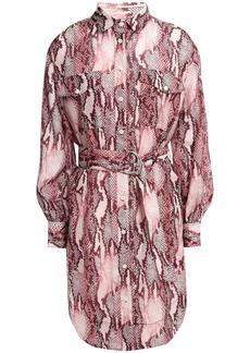 Current/elliott Woman Snake-print Cotton And Silk-blend Mini Shirt Dress Plum