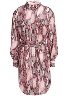 Current/elliott Woman Snake-print Cotton And Silk-blend Mini Shirt Dress Plum