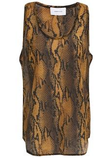 Current/elliott Woman Snake-print Cotton And Silk-blend Voile Tank Animal Print