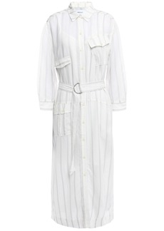 Current/elliott Woman Striped Voile Midi Shirt Dress Ivory