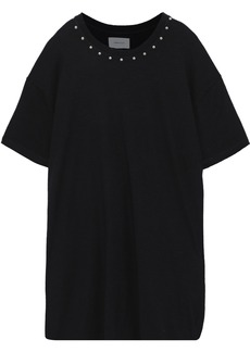 Current/elliott Woman Studded French Cotton-terry Mini Dress Black