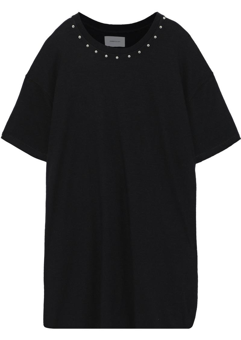 Current/elliott Woman Studded French Cotton-terry Mini Dress Black