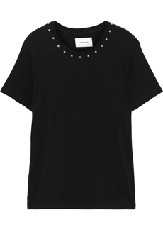Current/elliott Woman Studded French Cotton-terry T-shirt Black