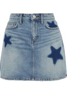 Current/elliott Woman The 5-pocket Distressed Denim Mini Skirt Mid Denim