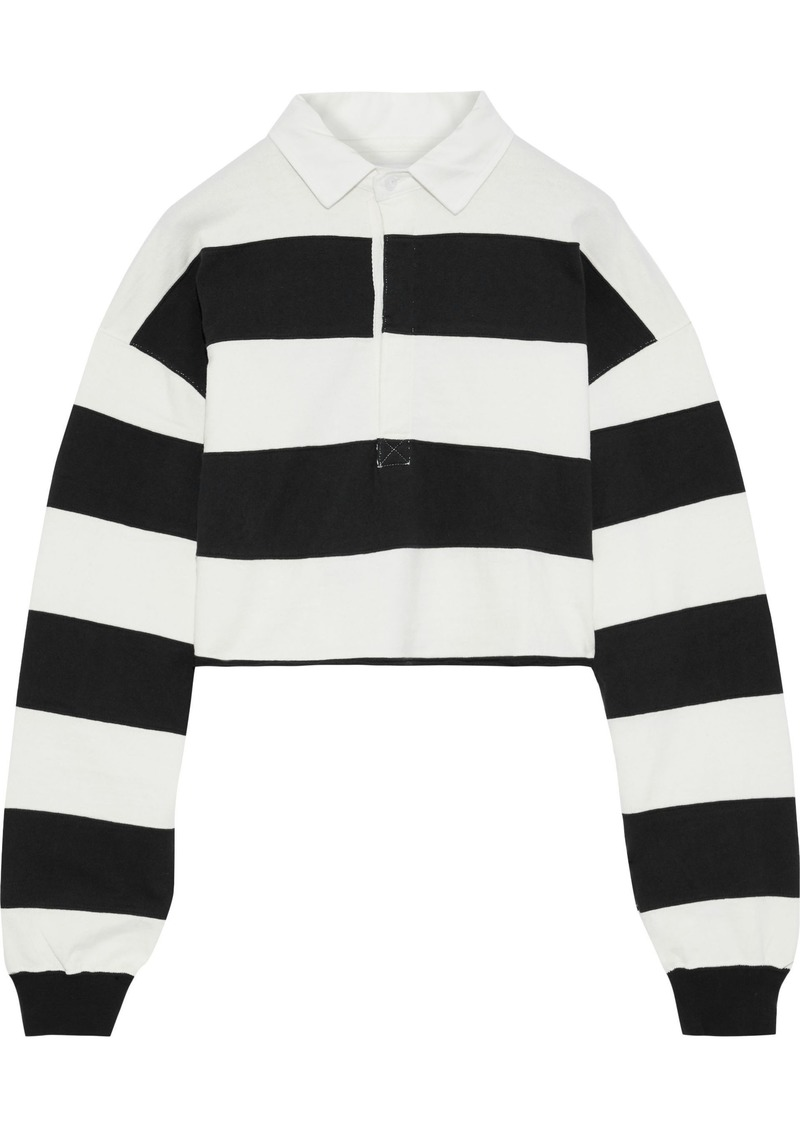 Current/elliott Woman The 65 Rugby Cropped Striped Cotton Polo Shirt White
