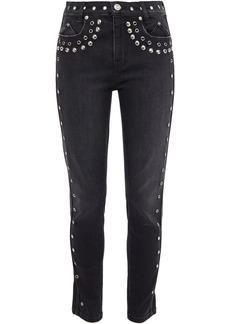 Current/elliott Woman The 7-pocket Embellished Mid-rise Skinny Jeans Black