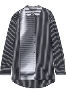 Current/elliott Woman The Allen Paneled Striped Cotton-poplin Shirt Black