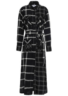 Current/elliott Woman The Ana Paneled Checked Twill And Gauze Midi Shirt Dress Black