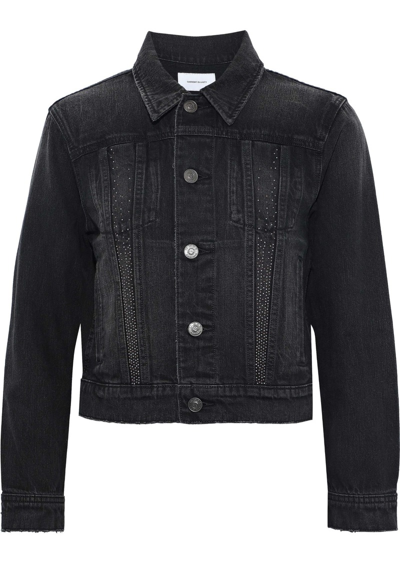 Current/elliott Woman The Baby Trucker Cropped Studded Denim Jacket Black