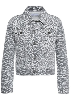 Current/elliott Woman The Baby Trucker Leopard-print Denim Jacket White