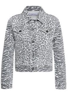 Current/elliott Woman The Baby Trucker Leopard-print Denim Jacket White