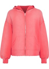 Current/elliott Woman The Bailer Distressed French Cotton-terry Hoodie Coral