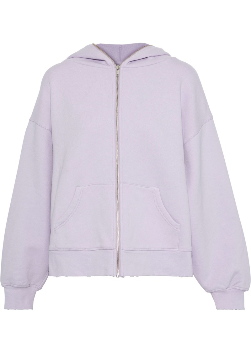 Current/elliott Woman The Bailer Faded French Cotton-terry Hoodie Lilac