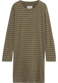 Current/elliott Woman The Beatink Striped Cotton-jersey Mini Dress Army Green