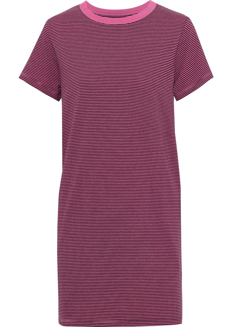 Current/elliott Woman The Beatnik Striped Cotton-blend Jersey Mini Dress Pink