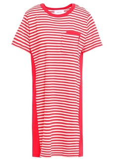 Current/elliott Woman The Beatnik Striped Cotton-jersey Mini Dress Tomato Red