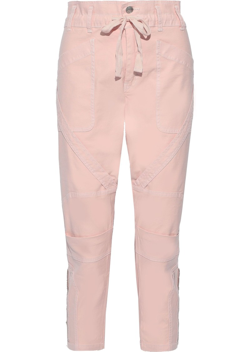 Current/elliott Woman The Beverly Cropped Cotton-blend Tapered Pants Pastel Pink