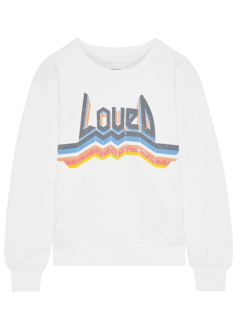 Current/elliott Woman The Bosun Printed French Cotton-terry Sweatshirt White