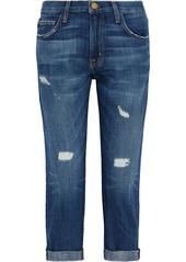Current/elliott Woman The Boyfriend Cropped Distressed Mid-rise Straight-leg Jeans Mid Denim