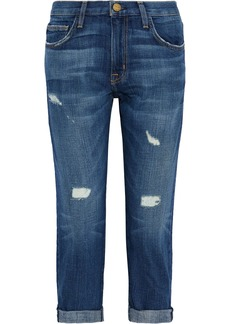 Current/elliott Woman The Boyfriend Cropped Distressed Mid-rise Straight-leg Jeans Mid Denim