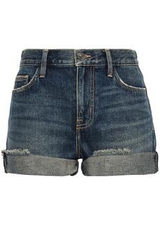 Current/elliott Woman The Boyfriend Rolled Distressed Denim Shorts Mid Denim