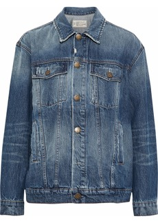 Current/elliott Woman The Boyfriend Trucker Distressed Denim Jacket Mid Denim