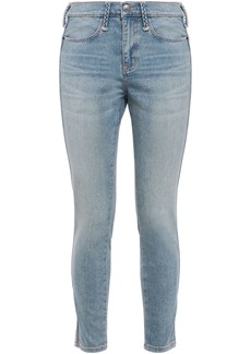 Current/elliott Woman The Braided Caballo Cropped Mid-rise Skinny Jeans Light Denim