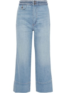 Current/elliott Woman The Braided Camp Cropped High-rise Wide-leg Jeans Light Denim