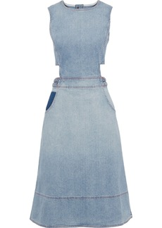 Current/elliott Woman The Braided Nightfall Cutout Faded Denim Dress Light Denim