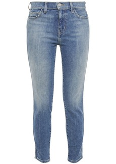 Current/elliott Woman The Caballo Cropped Faded Mid-rise Skinny Jeans Mid Denim