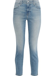 Current/elliott Woman The Caballo Cropped Frayed Mid-rise Slim-leg Jeans Mid Denim