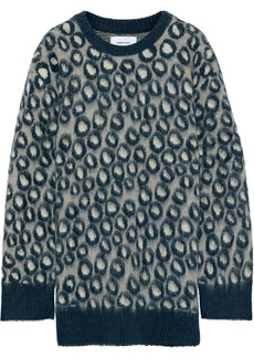 Current/elliott Woman The Cali Leopard-print Brushed-knitted Sweater Storm Blue