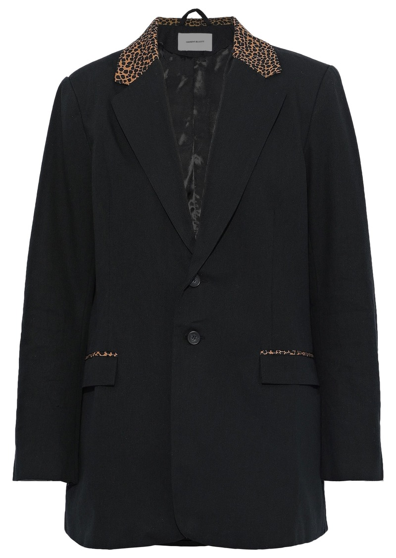 Current/elliott Woman The Calla Leopard Print-trimmed Cotton And Wool-blend Blazer Black