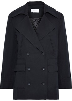 Current/elliott Woman The Captain Double-breasted Cotton And Wool-blend Twill Jacket Black
